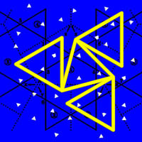 four yellow triangles rampant on a blue sky with white stars